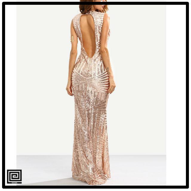 ローズゴールドスパンコールカットバックマーメイドドレス