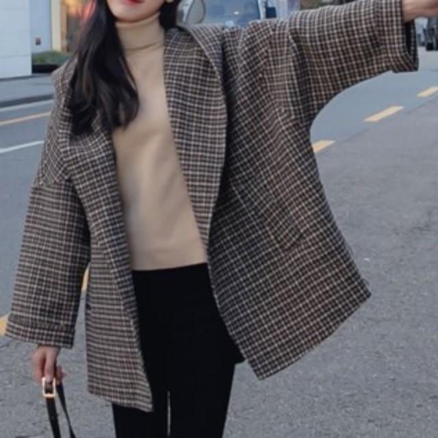 トレンド☆ コート アウター 厚手 シック フード付き リラックス感 千鳥柄