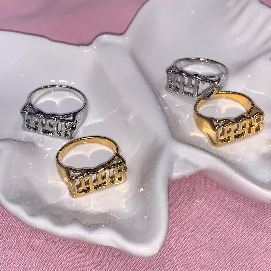 Custom Big Birth Year Ring