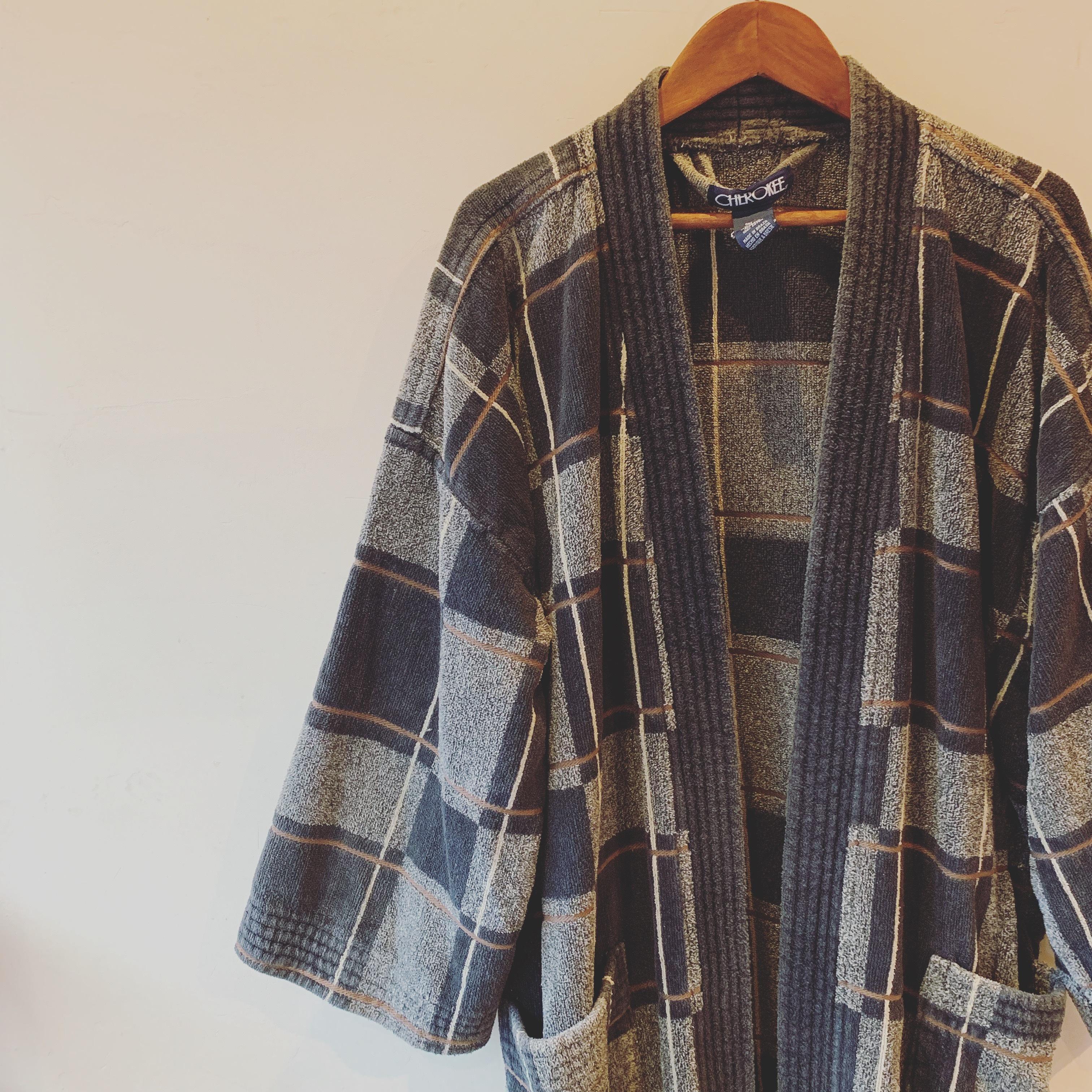 vintage block check piles gown