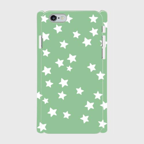iPhone6/6sスマホケース☆スター×グリーン☆ 側表面印刷ツヤ有り(コート)