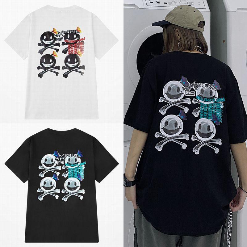 ユニセックス Tシャツ 半袖 メンズ レディース ボンバー ニコちゃん スマイリー プリント コットン オーバーサイズ 大きいサイズ ルーズ ストリート