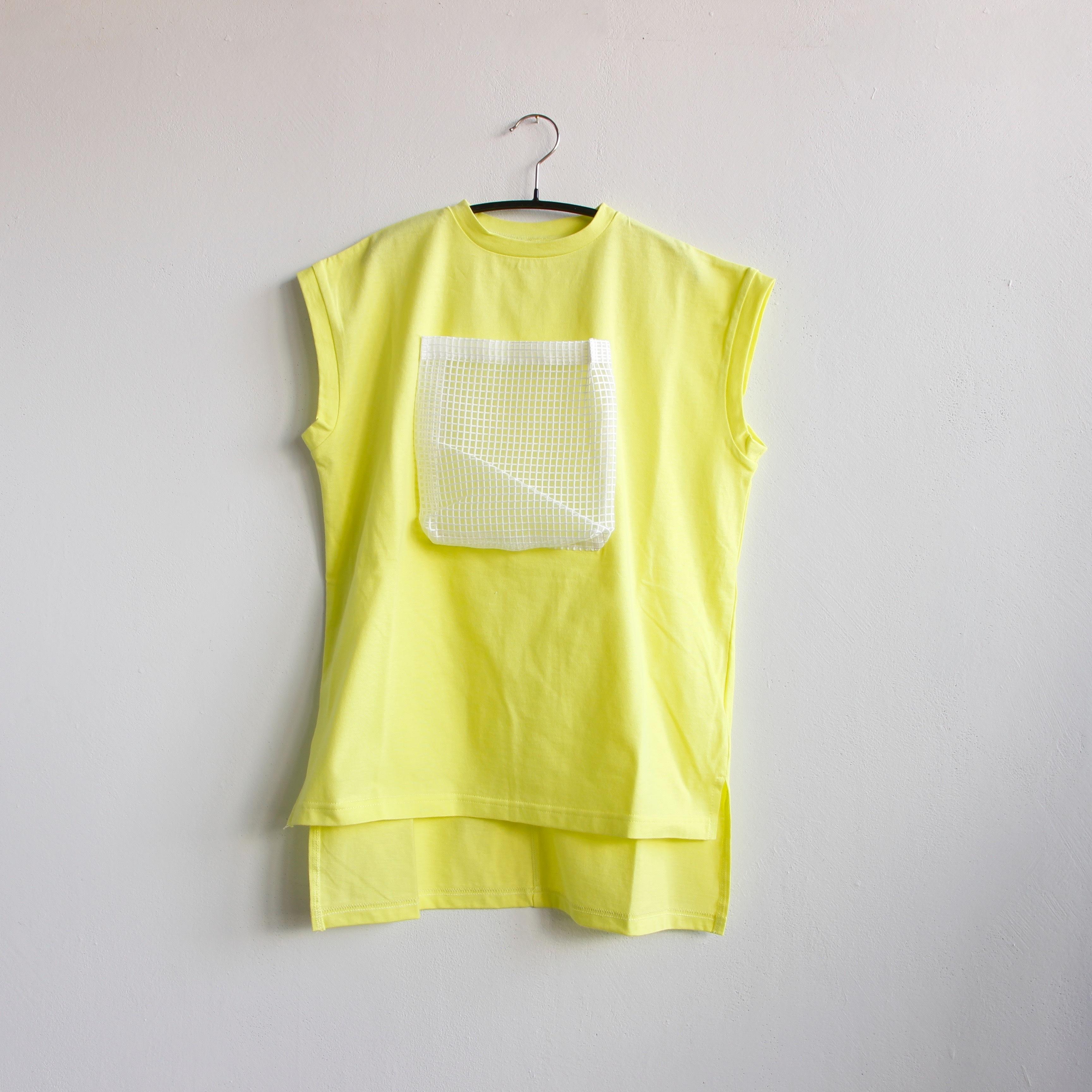 《michirico 2020SS》Front pocket OP / lemon yellow / S・M
