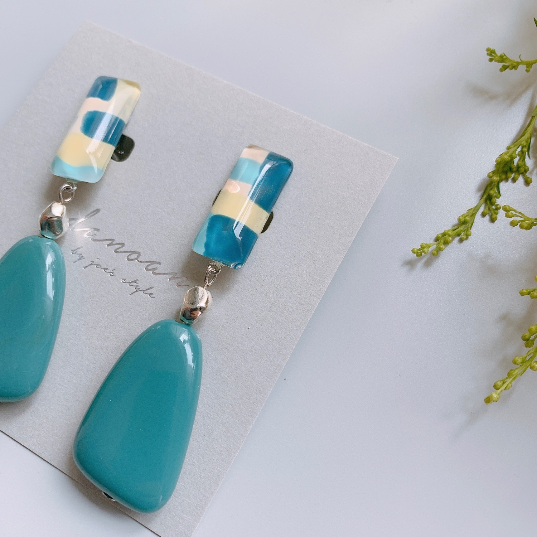 """ Earrings NO.danoan-22″ ペイントとブルービーズ"