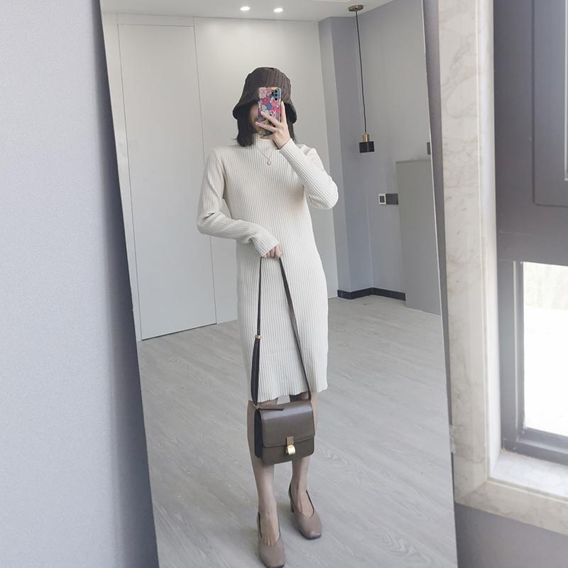 〈カフェシリーズ〉ハイネックニットスリムワンピ【high neck knit slim one-piece】