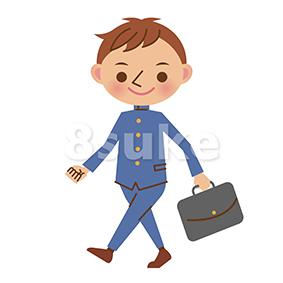 イラスト素材:カバンを持って歩く学生服姿の男子中学生・高校生(ベクター・JPG)