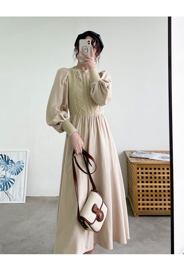 〈カフェシリーズ〉バックリボンのニットワンピース 【back ribbon knit one-piece】