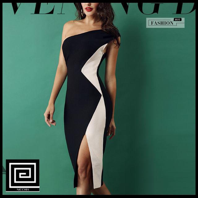 ドレスワンショルダーサイドスプリットドレス