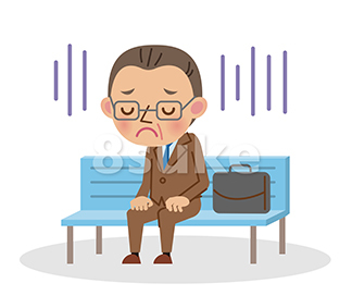 イラスト素材:ベンチに座って落ち込んでいる中年のビジネスマン(ベクター・JPG)
