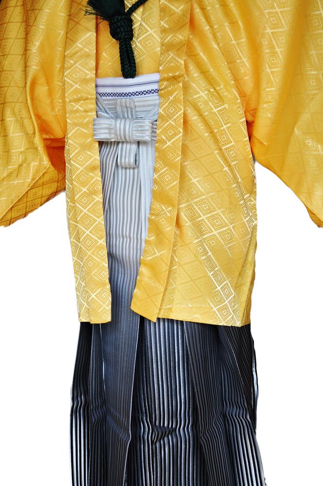 レンタル男性用【紋付袴】黄色着物羽織と白銀ぼかしの袴フルセットyellow1[往復送料無料] - 画像4