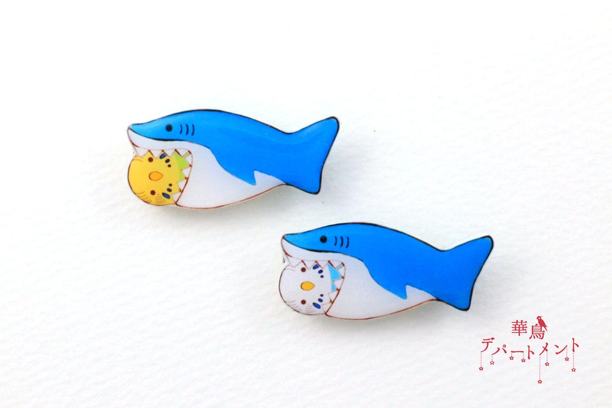 【サメに食べられてるブローチ】セキセイインコ