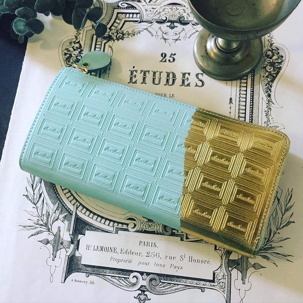 【MN様お取り置き品】訳あり:革のミントチョコ長財布(金の包み紙)