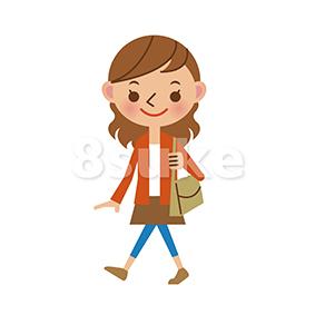 イラスト素材:歩く若い女性(ベクター・JPG)