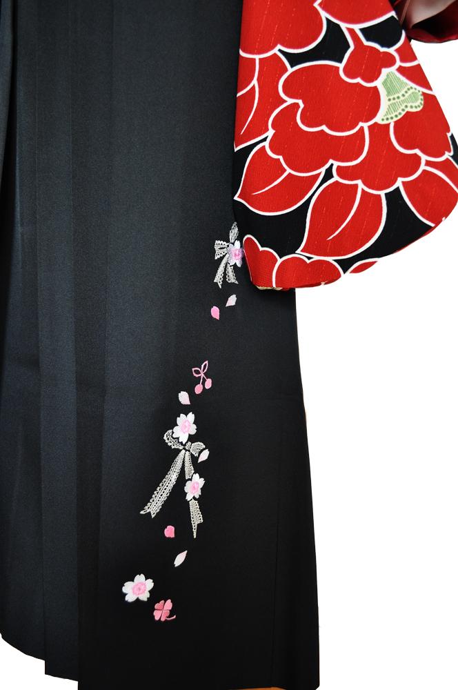 卒業式袴レンタル!黒地レース紐・花やリボン刺繍の袴&『和風館パーティー着物』赤黒大きな花柄ladies'hakama4[往復送料無料] - 画像5