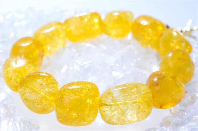 Crack Stone yellow【パワーストーンブレスレット 】 - 画像2