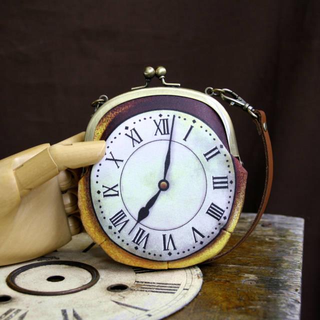 【受注製作】時計がま口 持ち手つきカードケース ローマ数字金時計 - 金星灯百貨店