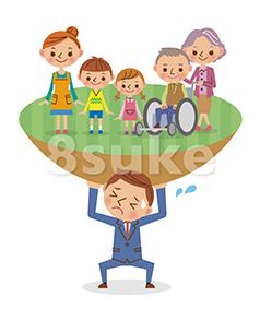 イラスト素材:家族を支えるビジネスマンのイメージ(ベクター・JPG)