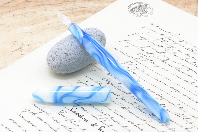在庫あり キャップ付きガラスペン「アクリルNo_シルキーブルーリバー」Viriditas手作りペン