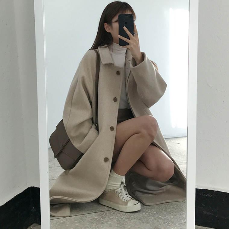 【送料無料】 ヘビロテ アウター♡ ステンカラー ウール ロングコート シンプル レトロ シングルボタン