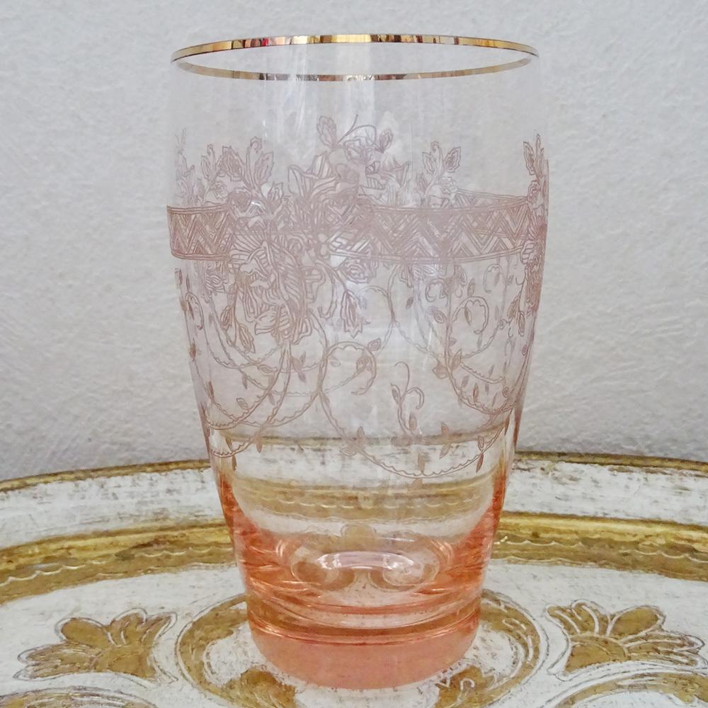チェコ 薔薇パントエッチンググラスタンブラー / ピンク