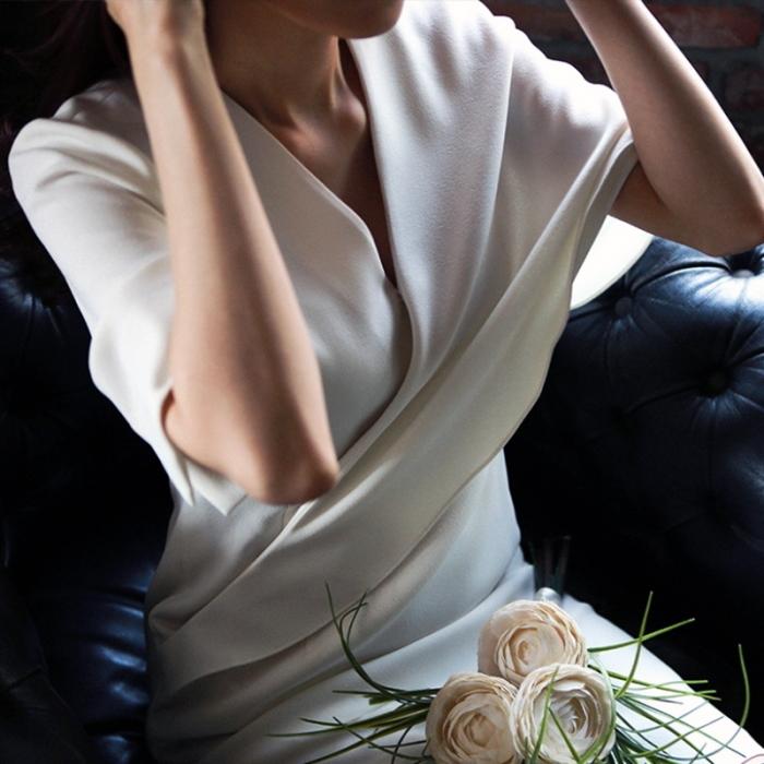 フレア袖 ホワイトドレス ひざ丈 白 ワンピース ウエディング