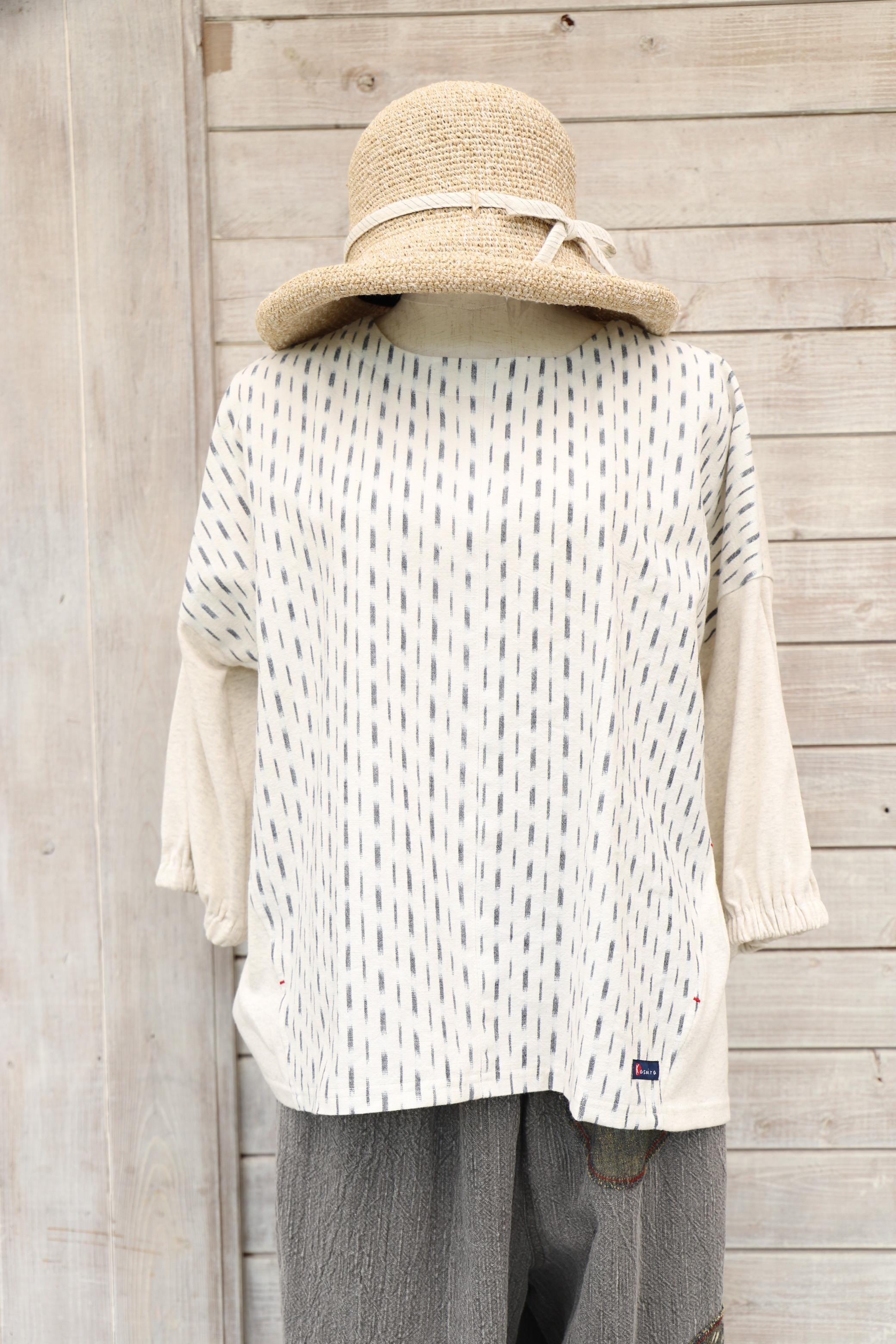 Tシャツ7分袖 TS41 白絣×生成