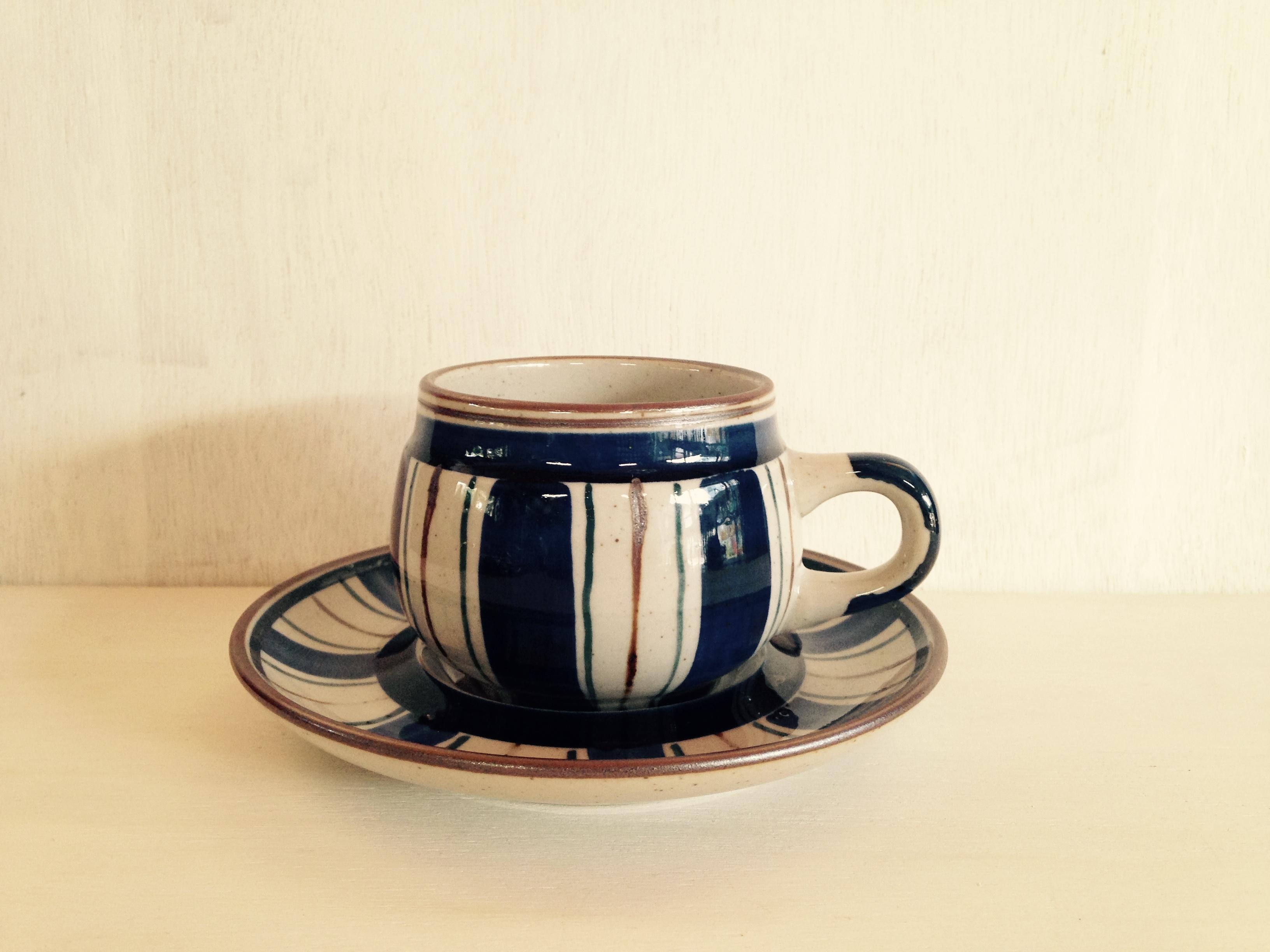 コーヒーカップ Noritake(ノリタケ)アンティークストーン 縦模様