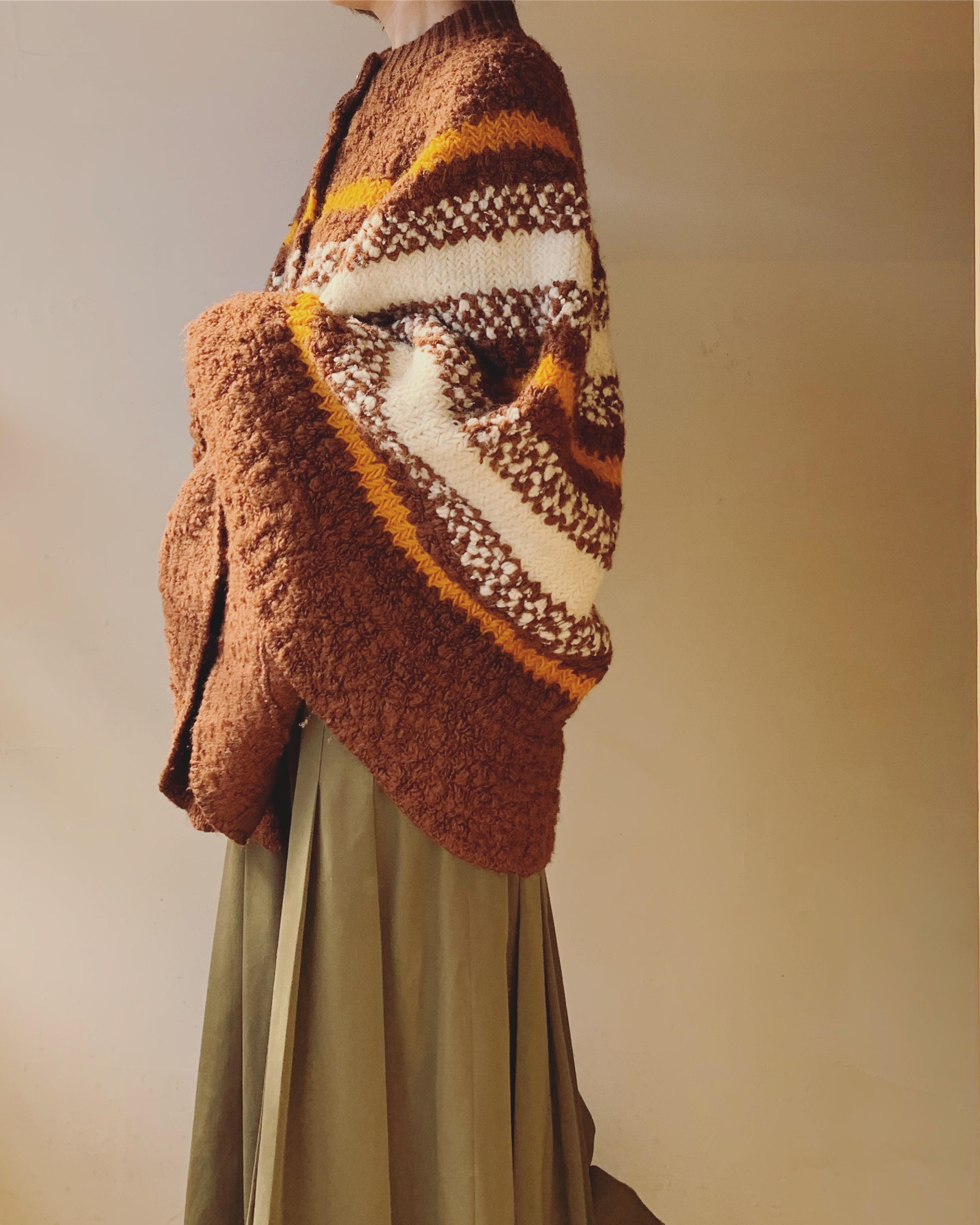 vintage border knit poncho