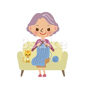 イラスト素材:編み物をするおばあちゃん(ベクター・JPG)