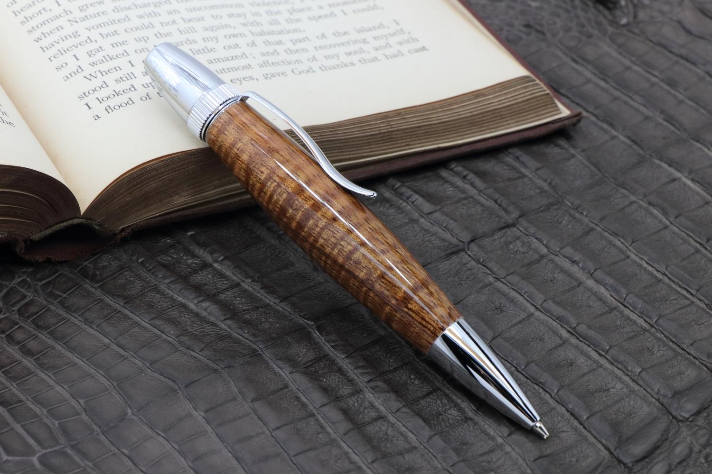 在庫あり「神が宿る木 ハワイアンコア カーリー 特上 PTS」希少木の手作りボールペン♪ジェットストリーム芯対応