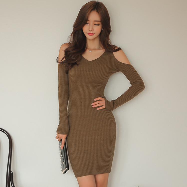「ワンピース」韓国セレブリティファッションオーペンショルダスリムセクシーワンピース