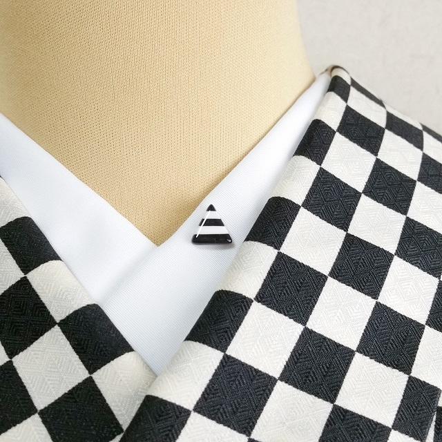 三角ボーダー半衿ピン【黒】