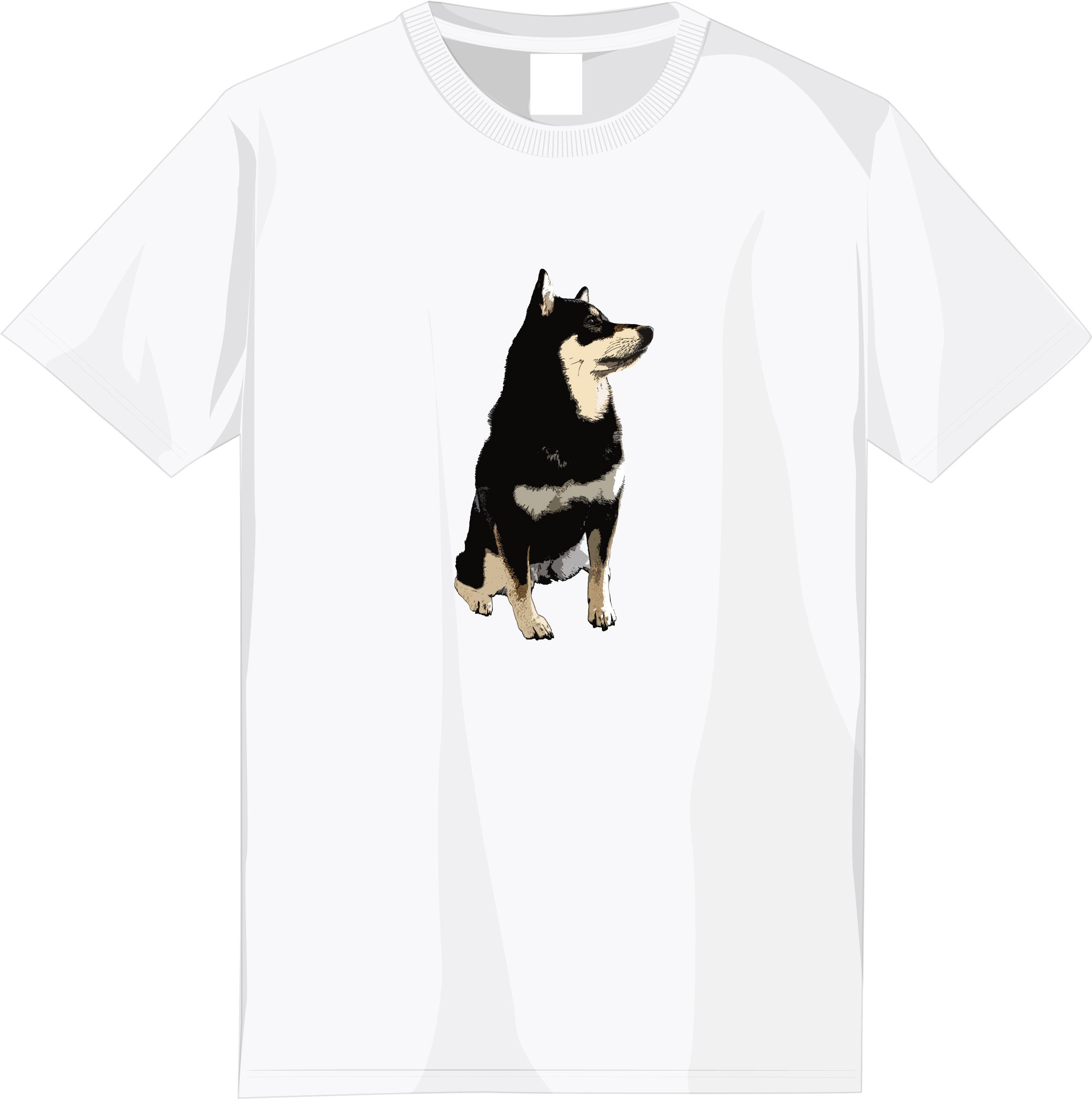 【期間限定受注】選べる全6種!フルカラー柴犬デザインTシャツ<②:黒柴文字なしタイプ>