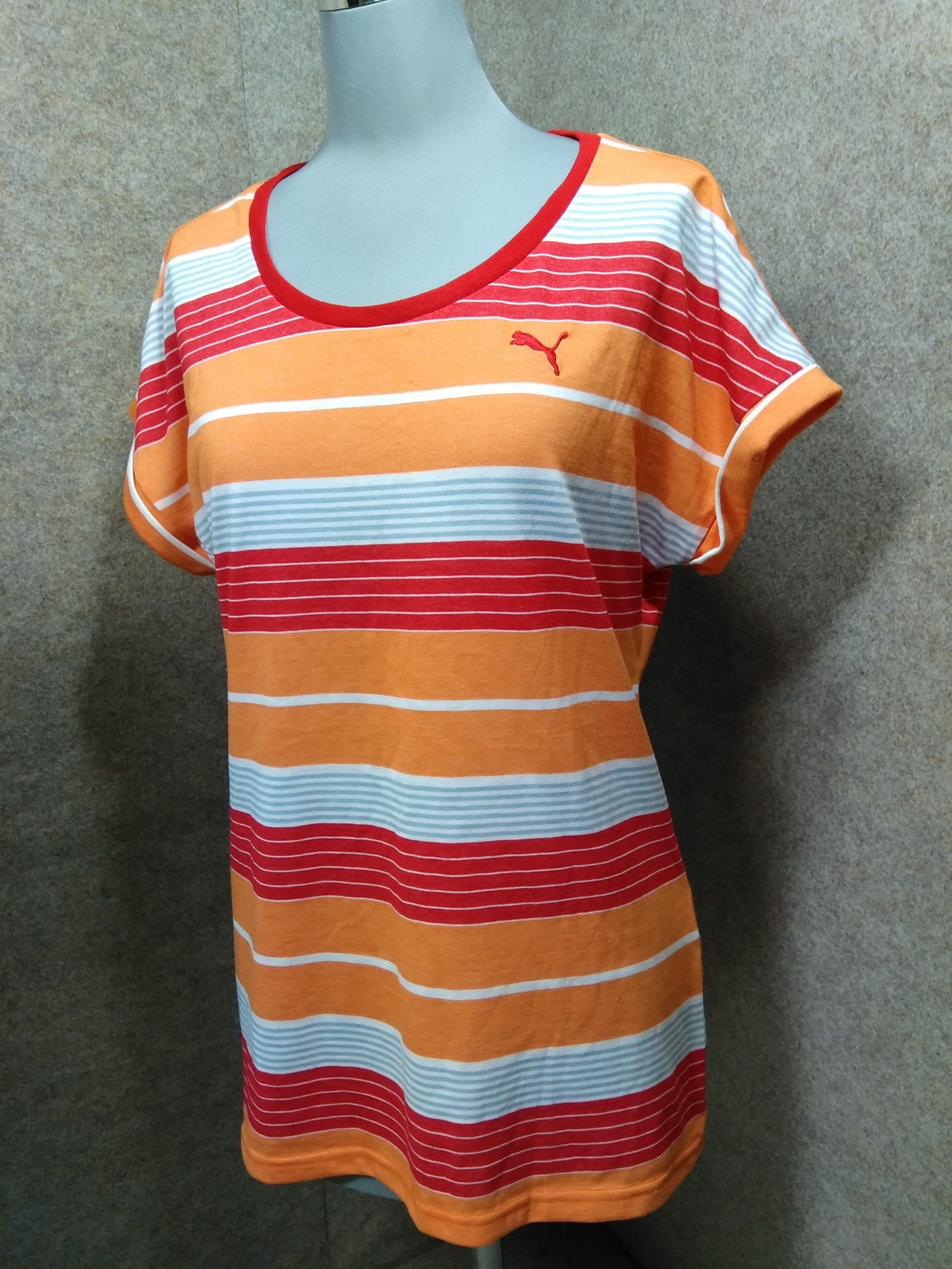 プーマ PUMA レディース Tシャツ L オレンジ系ボーダー u1230a