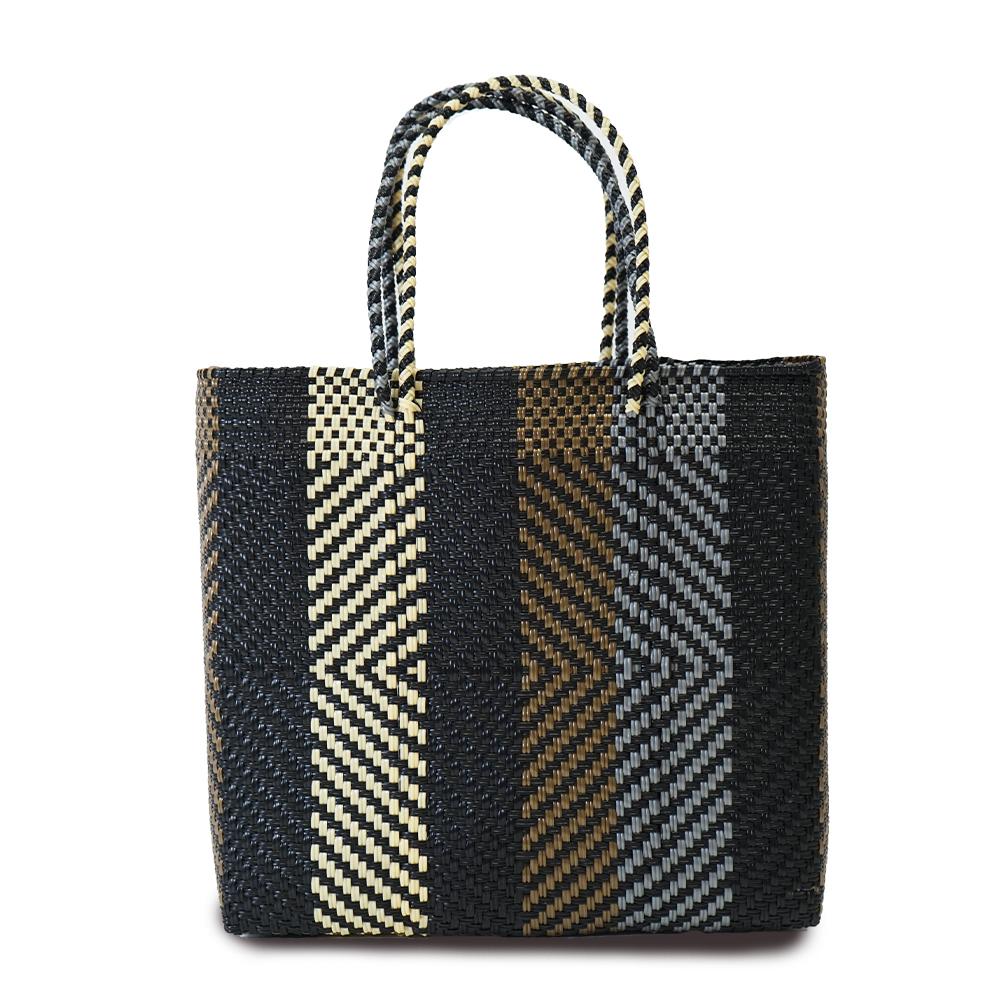 MERCADO BAG OPTICAL SEMI LONG HANDLE  - Black x Gold x Silver x Cream(M)
