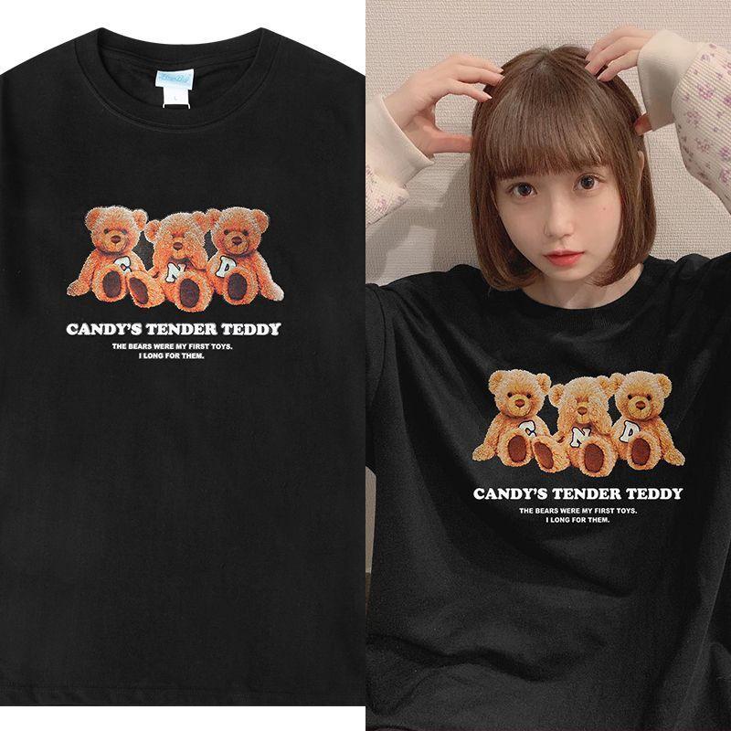 ユニセックス Tシャツ 半袖 メンズ レディース 英字 3匹のクマちゃん ぬいぐるみ プリント オーバーサイズ 大きいサイズ ルーズ ストリート