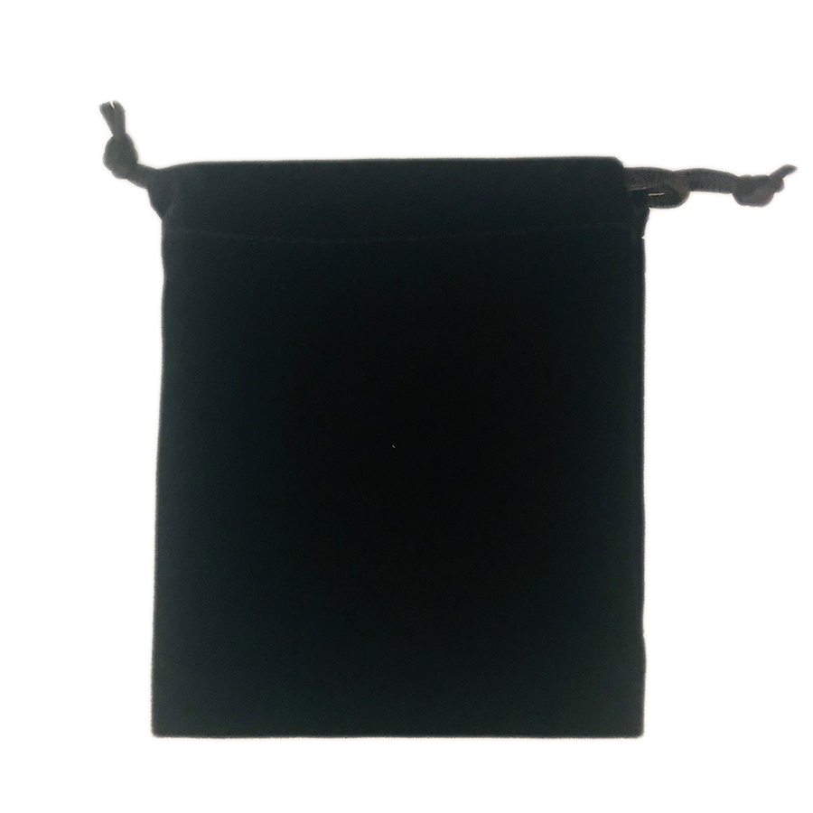 【大特価】ベロア ブラック アクセサリーポーチ巾着袋(Lサイズ:約12×10cm)