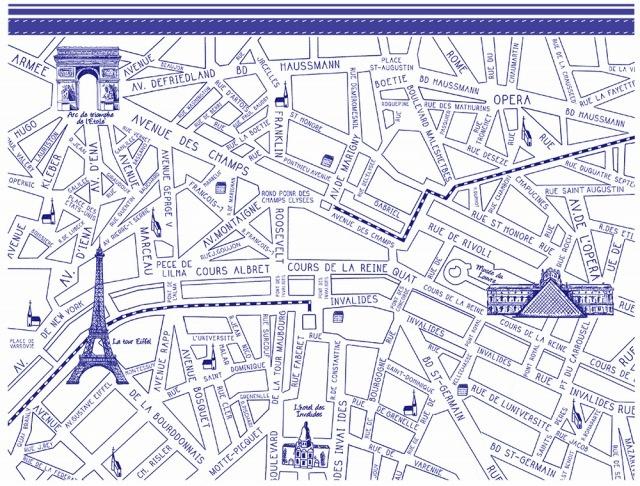 パリマップ ParisMap ブルー A4サイズ (ポーセリンアート用転写紙)