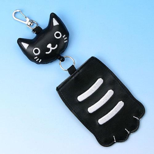 猫の手 コードリール パスケース 黒