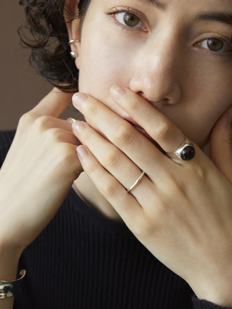 smokey quartz gem wide ring(再入荷)