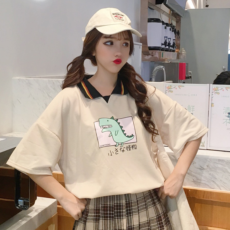 【tops】ファッション動物柄ゆったりTシャツ18795400
