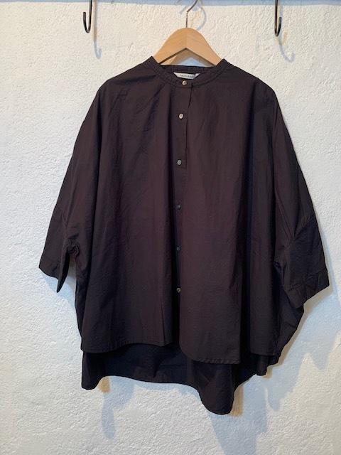 nachukara/バンドカラー7分袖後ろギャザーブラウス ブラック
