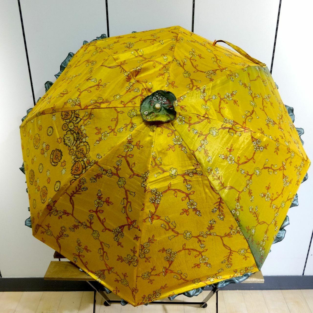 saripn-004 新型シルクサリー パラソルカバー【イエローブロッサム】折畳傘本体・共布バッグ付き