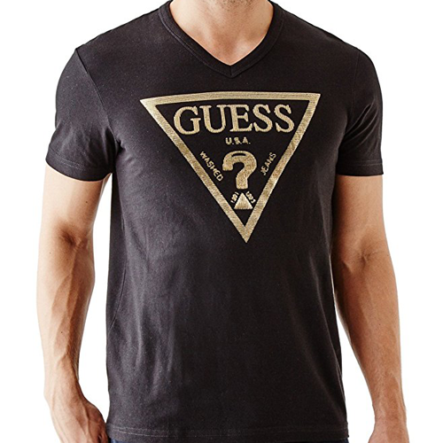 GUESS Factory  Bordeaux Logo V-Neck Black
