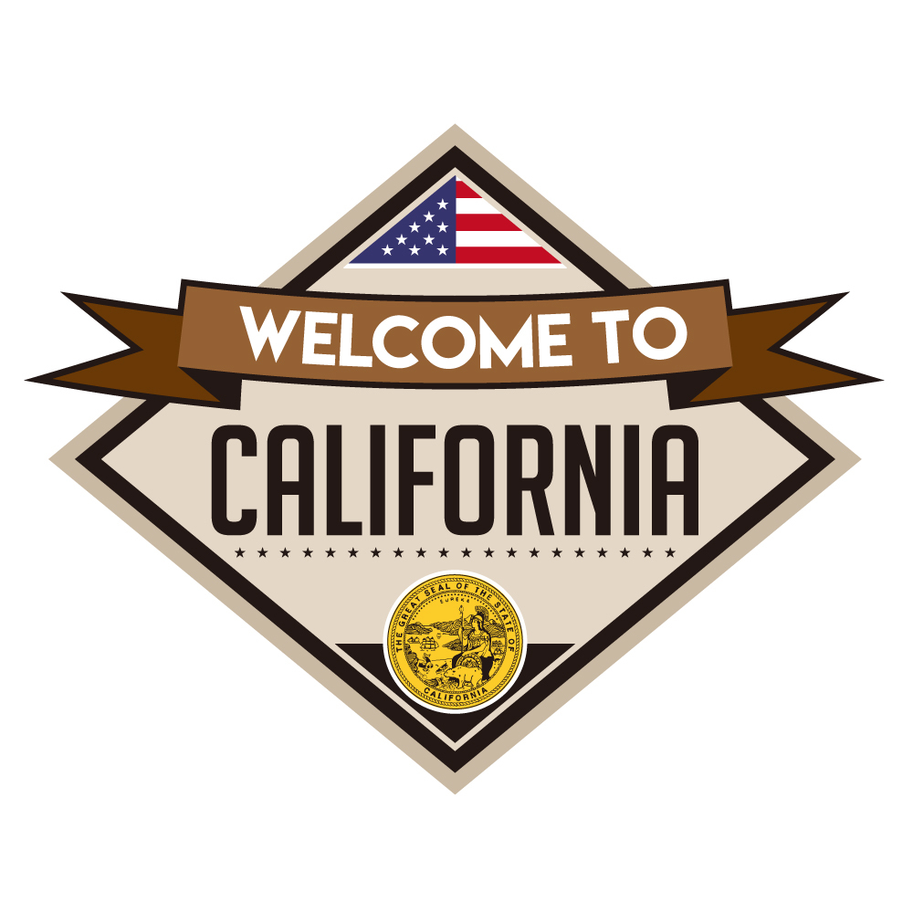 "190 WELCOME TO CALIFORNIA ""California Market Center"" アメリカンステッカー スーツケース シール"