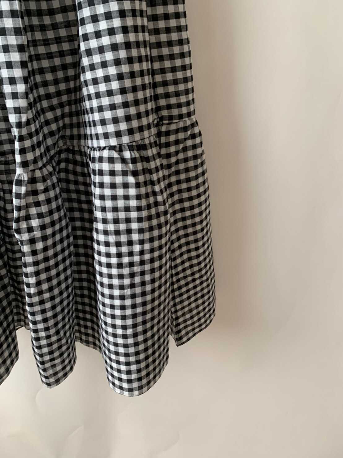 【asyu】gingham check tiered skirt