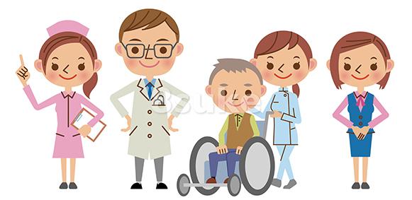 イラスト素材 医療スタッフイメージ 医者 看護師 介護士 医療事務