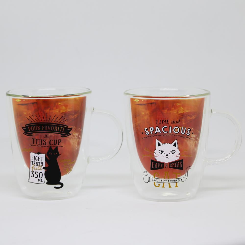 猫グラス(ハンドル付き二層グラス)