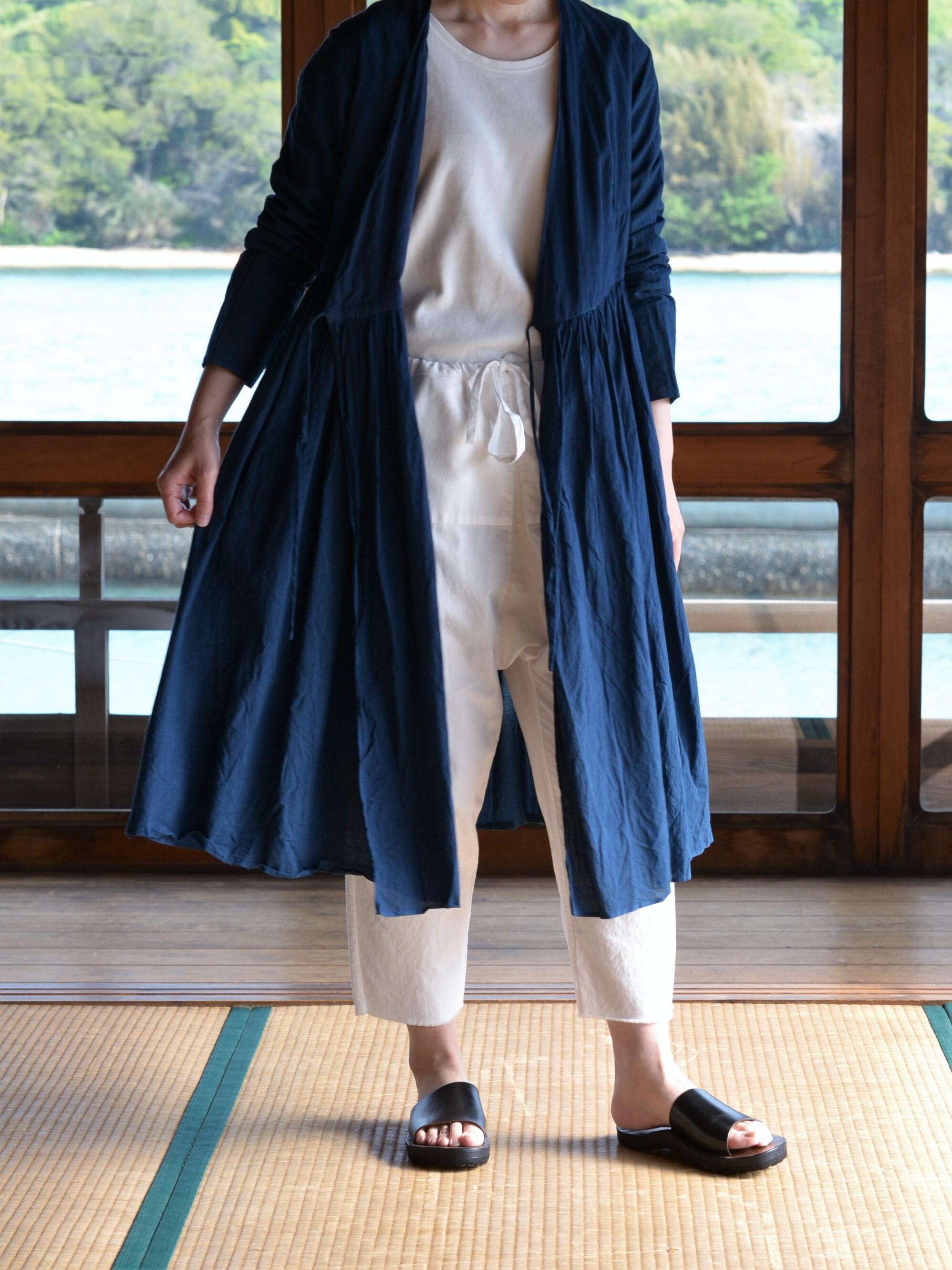 YAECA khadi  ラップギャザードレス 琉球藍