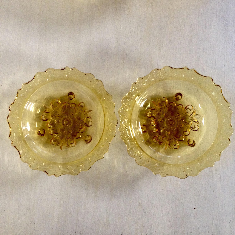 アンバー色の足付き可愛い小皿 昭和レトロ(TOYO製)2個セット